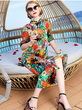 High-end Silk Dress Womens 2019 Spring and Summer New Short-sleeved Collar Chinese Style Cheongsam Long Section