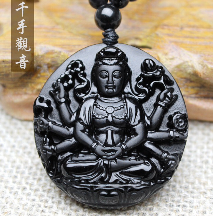Natural Black Obsidian QIANSHOU Buddha Carved Lucky Amulet polish pendant Necklace Buddha pendants 8 china silver fine workmanship carved lucky money happy buddha on fish statue d0426