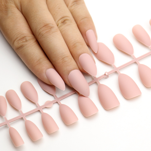 24pcs Matte False Nails Pointed Soft Pink Black Fake Stiletto Full Cover Pure Color