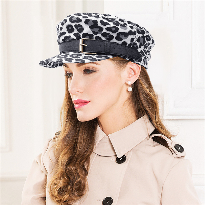 2018 Vintage Leopard Octagonal Cap Women Winter Casual Flat Top Female Casual Baseball Hats Fashion Girls Berets Newsboy Hat Men's Hats Apparel Accessories