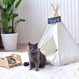 Image 4 - 개 텐트 시간 제한 판매 100% 코 튼 기계 워시 고체 Yuyu 애완 동물 Teepee 하우스 침대 고양이 작은 개를위한 휴대용 개 텐트