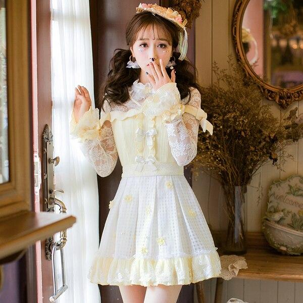 เจ้าหญิงsweetโลลิต้าdress candy rainลูกไม้สดขนาดเล็กdressหญิงญี่ปุ่นsweetบางเจ้าหญิงปกdress c22ab7006-ใน ชุดเดรส จาก เสื้อผ้าสตรี บน   1