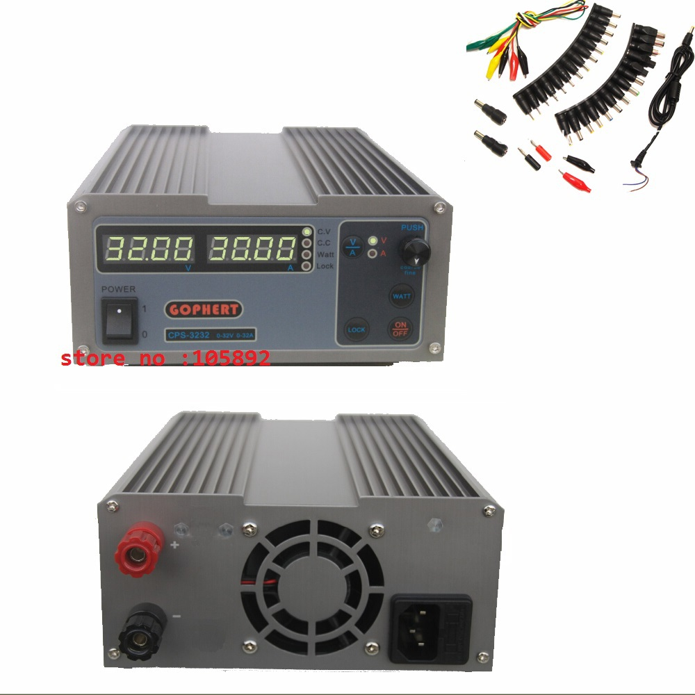 New upgrade Compact Digital Adjustable DC Power Supply OVP/OCP/OTP MCU Active PFC 32V32A 170V-264V + EU + 39pcs/set Jack Cable cps 6003 60v 3a dc high precision compact digital adjustable switching power supply ovp ocp otp low power 110v 220v