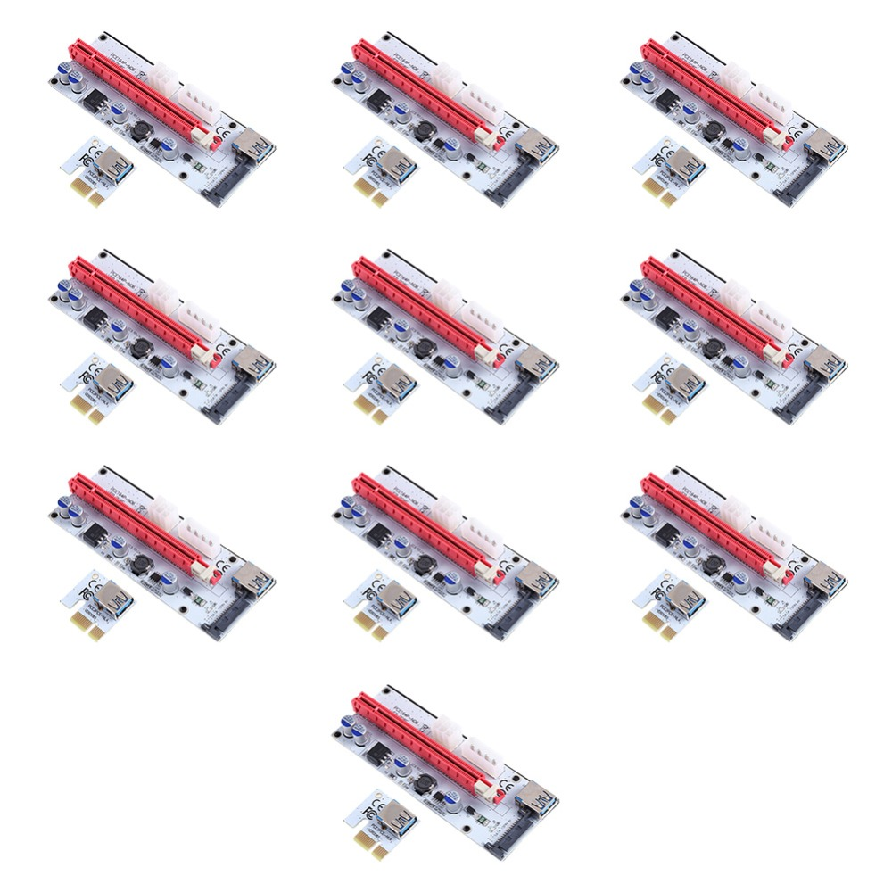 10pcs Riser Board Expansion Card PCI-E 1x to 16x Adapter Express Riser Card USB3.0 Data Cable Power Cable Kit for BTC Miner pci 6503 data acquisition card 100