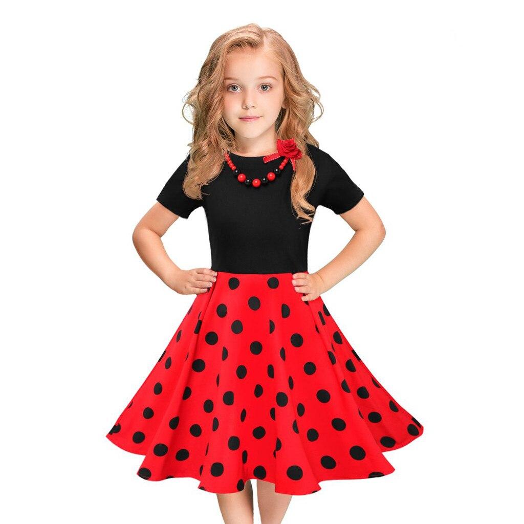 Honest Muqgew Girls Summer Dress Kids Vintage Dress Polka Dot Princess Swing Rockabilly Party Dresses Roupa Menina #y5 A Wide Selection Of Colours And Designs Mother & Kids Dresses