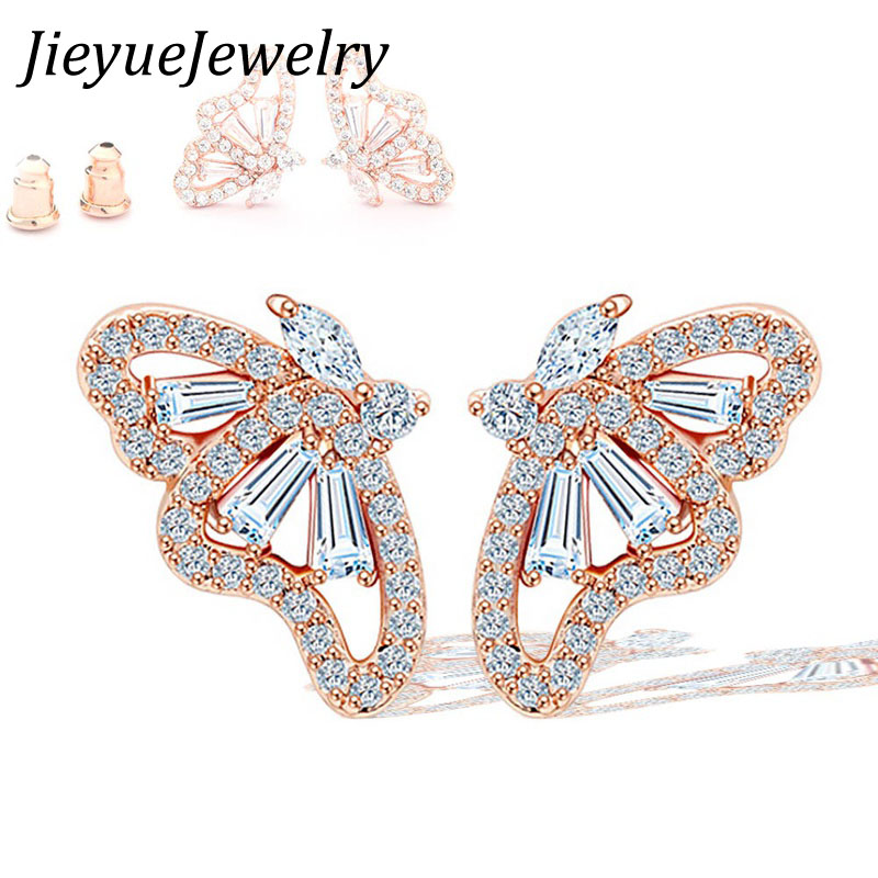 New Arrive Romantic Rose Gold /White Color Cubic Zircon Butterfly Stud Earrings For Gril To Gift Fashion Jewelry