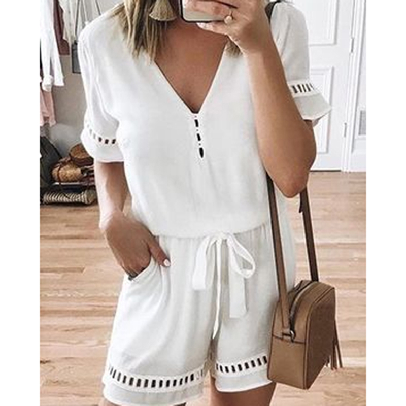 2019 Hot Sexy Women Playsuits Rompers Shorts Fashion Summer Short Sleeve Patchwork Bodysuits V Neck With Belt Holiday   Jumpsuit
