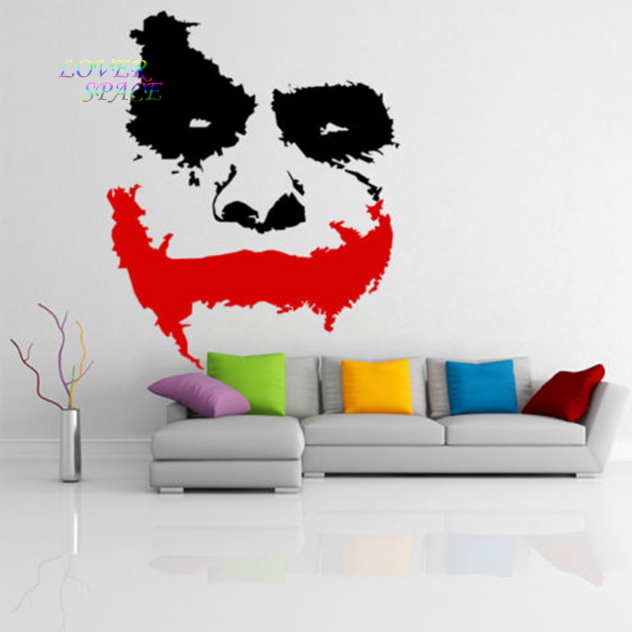 vinyl wall decal scary joker face movie batman the dark knight sticker mural wall sicker home. Black Bedroom Furniture Sets. Home Design Ideas