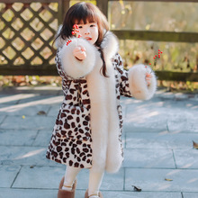 2019 Kids Leopard Faux Fur Clothes Girls Hooded Faux Fox Fur Long Coat Children Warm Leopard Outerwear Girls Faux Fur Jackets