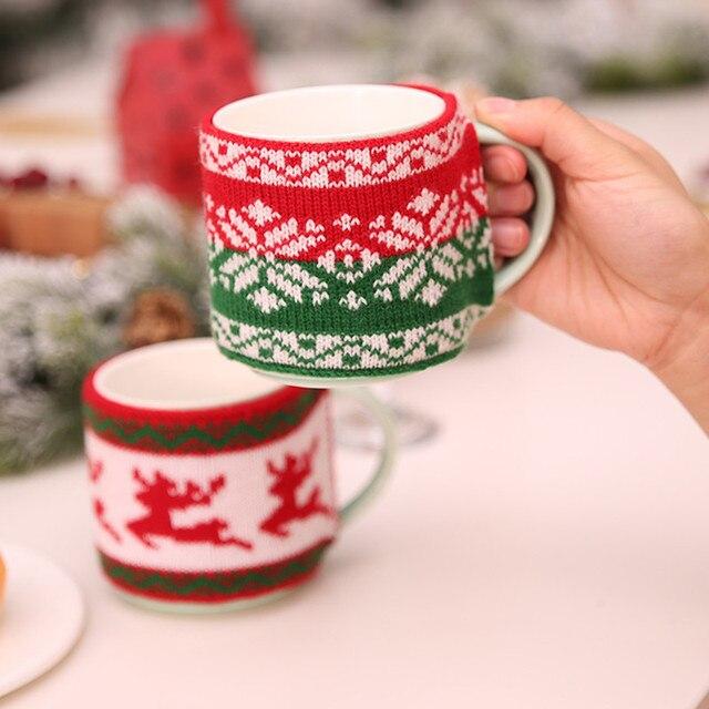 New Arrival świąteczne dekoracje dla domu kubek pokrywa choinka Snowflake łosie dzianiny puchar pokrywa nowy rok Party wystrój stołu