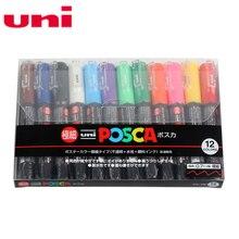 12 Stks/partij Uni Posca PC 1M Verf Marker  Extra Fijne Bullet Tip 0.7mm 12 Kleuren Case Poster Waterbasis Reclame pen