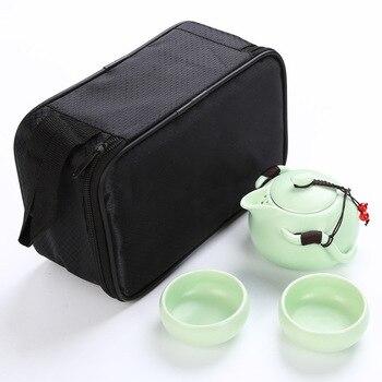 Chinese Travel Tea Set Ceramic Portable  Kungfu Teapot Porcelain Teaset Gaiwan Tea Cups of Tea Ceremony Tea Pot With Travel Bag