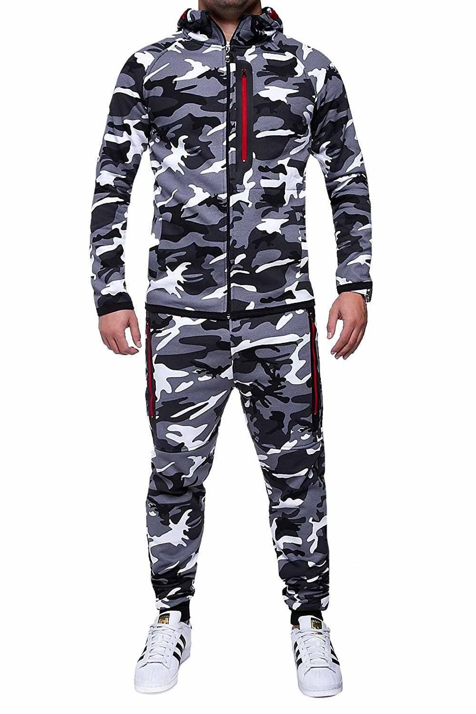 ZOGAA Männer Sets Track Anzug 2019 Camouflage Jacke Camo Druck Trainingsanzug Passenden Sportswear Hoodie Mantel Hosen Sweatsuit Militär