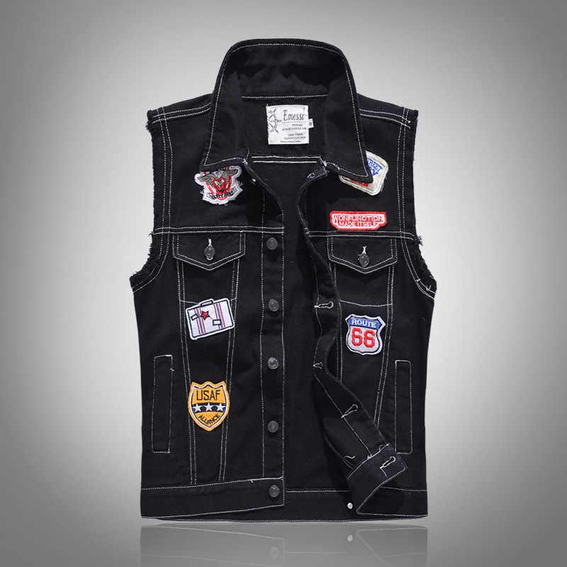 プラスアジアサイズ M-4XL 5XL 黒 & 白無地デニムベスト男性のパンクロックスタイルチョッキオートバイノースリーブジャケット 2018