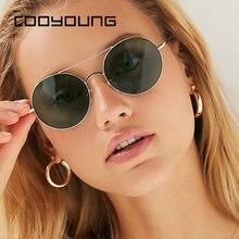 COOYOUNG Vintage Metall Runde Sonnenbrille Frauen Persönlichkeit Schwarz Big Red Sonnenbrille Shades Frauen Sonnenbrille UV400