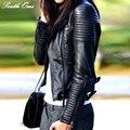 2016 Nueva Moda Otoño Invierno de Mujer de Marca de Imitación de Cuero Suave de La Pu Negro Chaquetas Blazer Cremalleras Escudo de Motos ropa de Abrigo y Remache