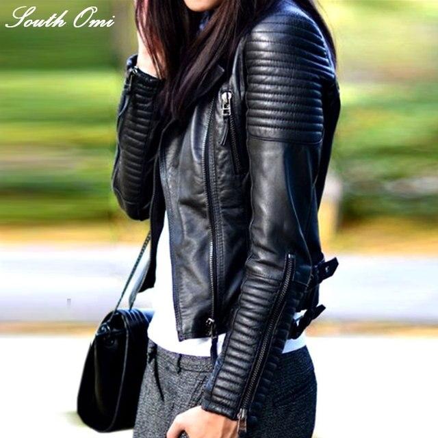 Мода 2017 г. осень-зима Для женщин бренд из искусственной мягкой Кожаные Куртки из искусственной кожи черный блейзер Застёжки-молнии пальто мотоцикл верхняя одежда и заклепки