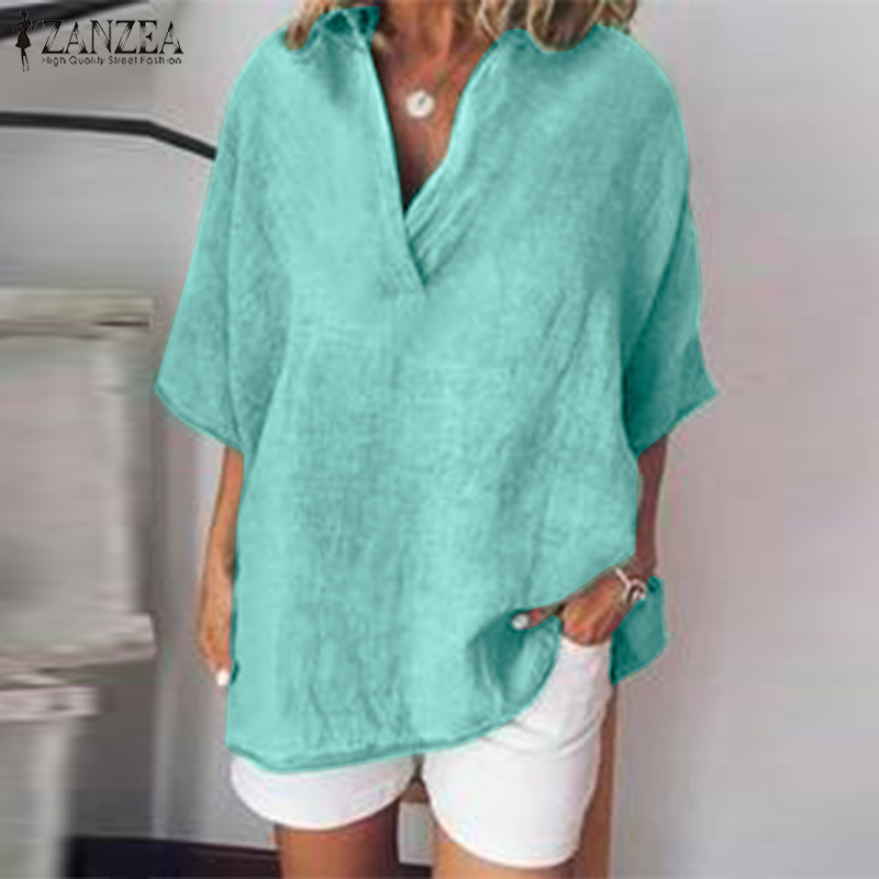 ZANZEA Women Tops and   Blouses   2019 Summer Casual Batwing Sleeve Lapel V Neck   Shirt   Ladies Work Tunic Tops Elegant Female Blusas