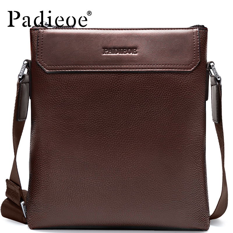 Padieoe Men Shoulder Bags Genuine Leather Briefcase Brand Men's Messenger Bag Business Casual Travel Crossbody Bag Free Ship padieoe men shoulder bags genuine leather briefcase brand men s messenger bag business casual travel crossbody bags free ship
