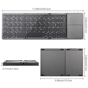 Image 2 - Kemile portátil duas vezes dobrável teclado bluetooth bt sem fio dobrável touchpad teclado para ios/android/windows ipad tablet