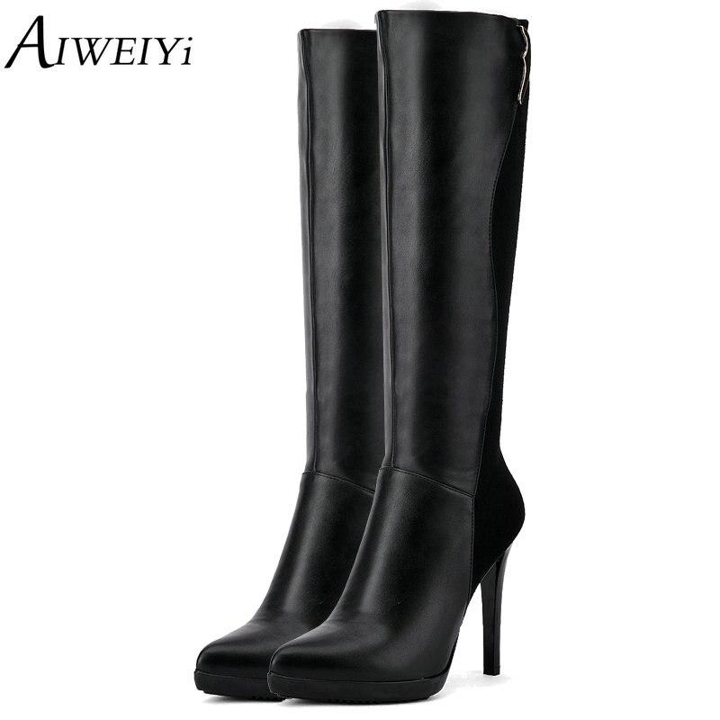 AIWEIYi 2018 bottes à la main sur le genou en cuir souple PU mince talon haut noir Zip bottes longues moto Botas chaussures femme