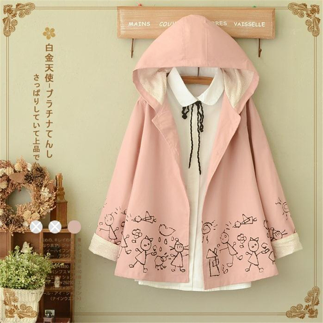 Autumn Winter New Women Pink Jacket Japanese style Mori Girl Cartoon Print Long Sleeve Hooded Casual Loose Blue Outerwear Coat