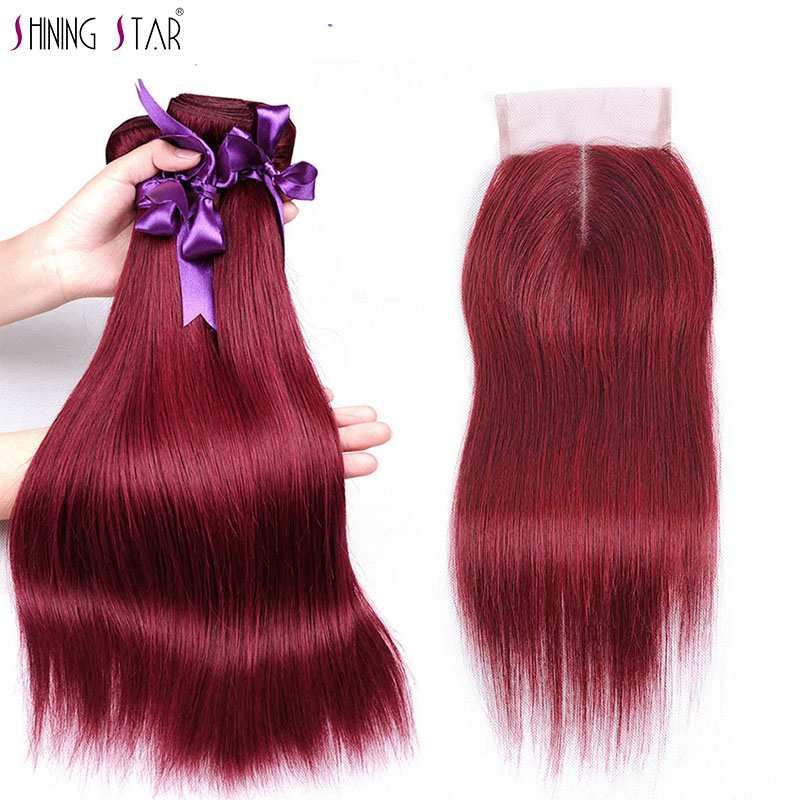 Burgundy Straight Hair 3 Bundles With Closure Red Peruvian Hair Weave Bundles With Closure Hair Extensions