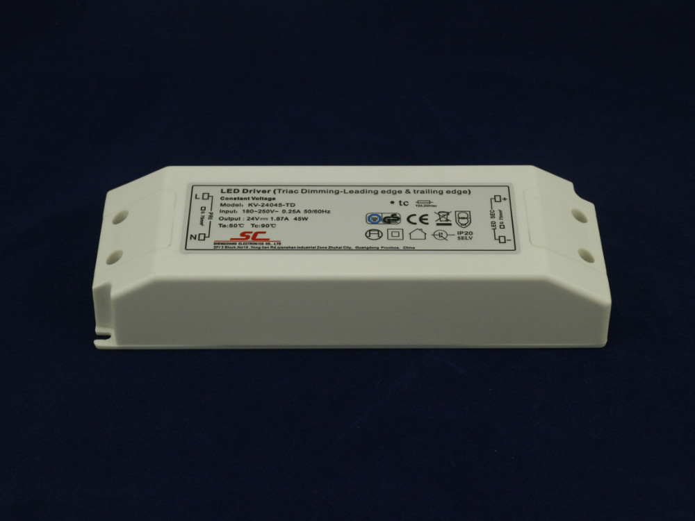 24v/45W triac dimmable constant voltage led driver,AC90-130V/AC170-265V input kvp 24200 td 24v 200w triac dimmable constant voltage led driver ac90 130v ac170 265v input