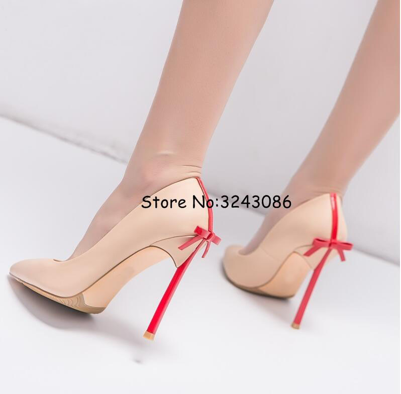 Pointy Toe Matte Leather Blade Heels Lady Dress Shoes Bowtie Back Sexy Matte Leather High Heels Butterfly-knot Fashion Pumps