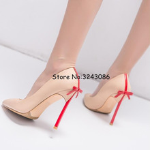 Pointy Toe Matte Leather Blade Heels Lady Dress Shoes Bowtie