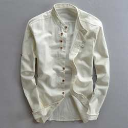 Мужские хлопковые льняные рубашки с длинным рукавом, повседневные тонкие рубашки с воротником-стойкой высокого качества, мужские деловые