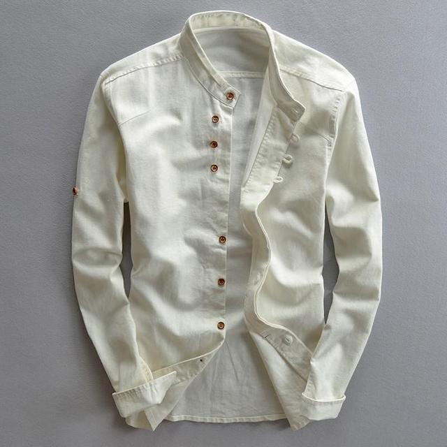 Lniane Rękawem Koszule Długim Z Męskie Schudnięcia Stójka Bawełniane C51qwnx7a