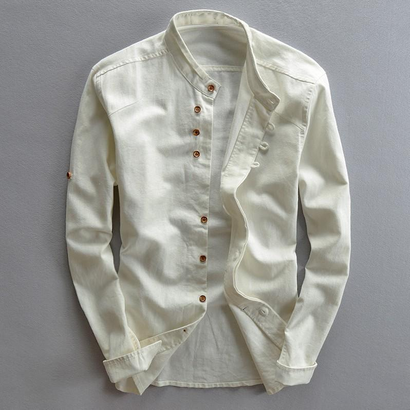 Mens Cotton Linen Shirts Long Sleeve Casual Slim M