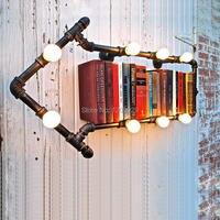 2015 New Arandelas De Parede Wall Sconce Light Loft American Wall Personalized Water Pipe Lamp Vintage Bookshelf Lights WLL 145