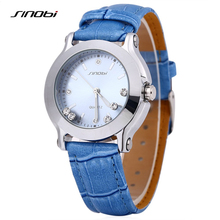 Reloj de Mujer de Marca de moda de Lujo Reloj Del Rhinestone Relogio Feminino Luxo Visten Los Relojes de Cuarzo-reloj de Cuero Azul Dames Horloge