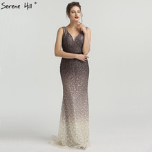 SERENE HILL Brown Gradient V-neck Sexy Evening Dresses 2019