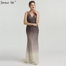 SERENE HILL Brown Gradient V-neck Sexy Evening Dresses 2019