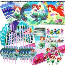 100 pçs dos desenhos animados disney princesa sereia ariel conjunto de utensílios de mesa crianças feliz aniversário crianças chuveiro do bebê suprimentos de festa decoração