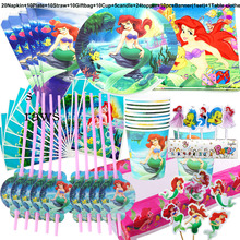 100 шт., набор посуды с изображением Принцессы Диснея русалки Ариэль для детей с днем рождения, украшения для детского душа