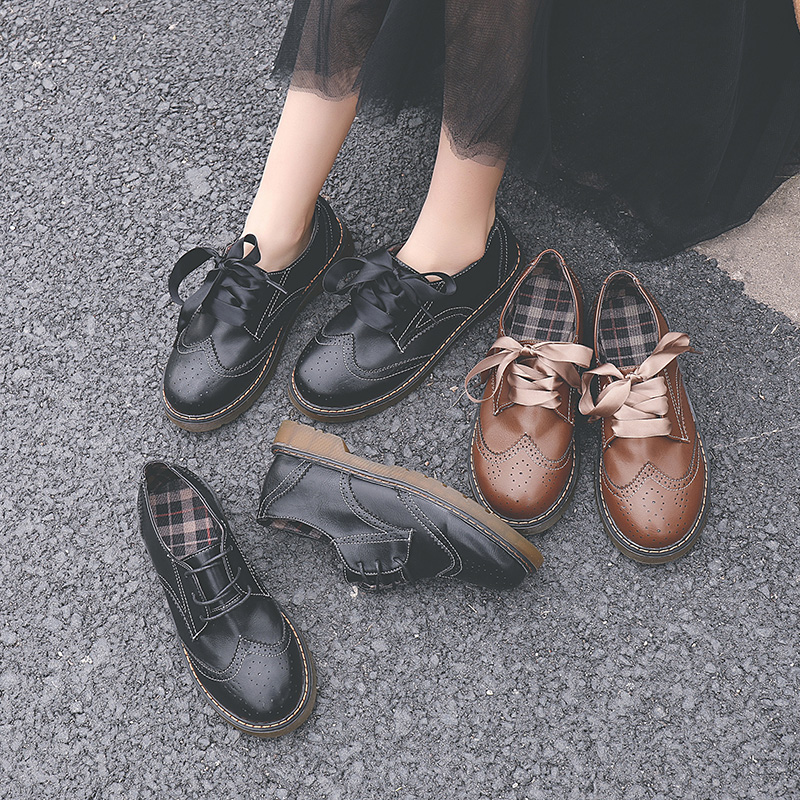 Retro Style Brogue Shoes Student College Girl Shoes Uniform Shoes PU Leather Preppy Style Lady Shoes