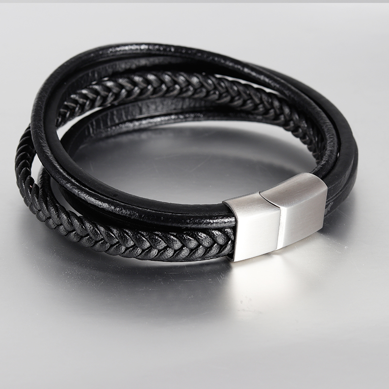 Trendy Jewelry Genuine Leather Bracelet Men Stainless Steel Bracelets Multilayer Braided Rope Chain for Male Jewelry Classic