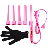 Pro Salon 5 In 1 Curling Wand 5pcs Interchangeable Hair Roller Tong Curling Iron Electric Hair