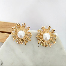 Geometric punk fashion pearl earrings 2018 Women wear large Statement pendant jewelry gifts