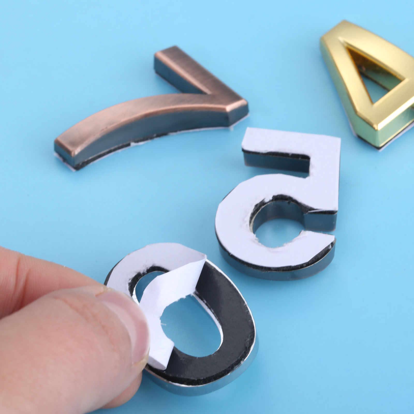 35mm Nhựa ABS Bạc Tự Dính 0-9 Cong Cửa Số Tùy Chỉnh Nhà Địa Chỉ Ký