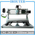 CNC 2418 + 2500 mw laser, diy mini máquina de gravura do cnc, Pcb Milling Machine, máquina de Escultura Em Madeira cnc, router cnc, cnc2418, GRBL controle