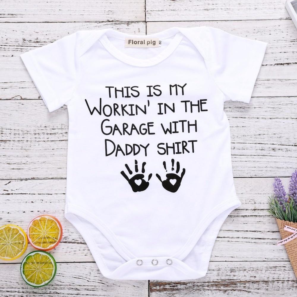 2018 Даддис для девочек Белый Топ счастливый день отцов детские вещи для новорожденных Одежда для маленьких мальчиков и девочек хлопковая де...