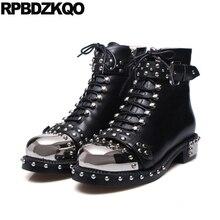 Осенние ботильоны Коренастый армии пинетки черный круглый носок высокое качество Металл 10 Роскошная фирменная обувь Для женщин Пояса из натуральной кожи с заклепками армейские