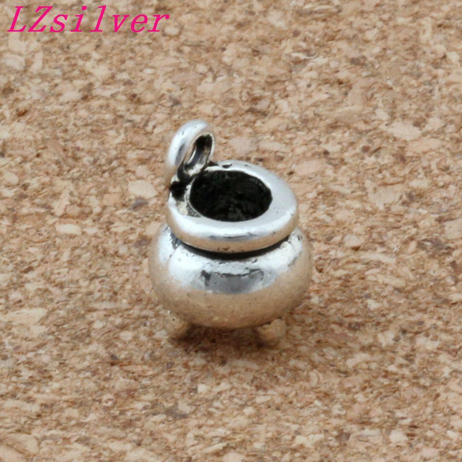 100pcs Ancient silver 8.5x12mm alloy Witch Cauldron Pot Halloween 3D Pendants Charms DIY Jewelry A-139