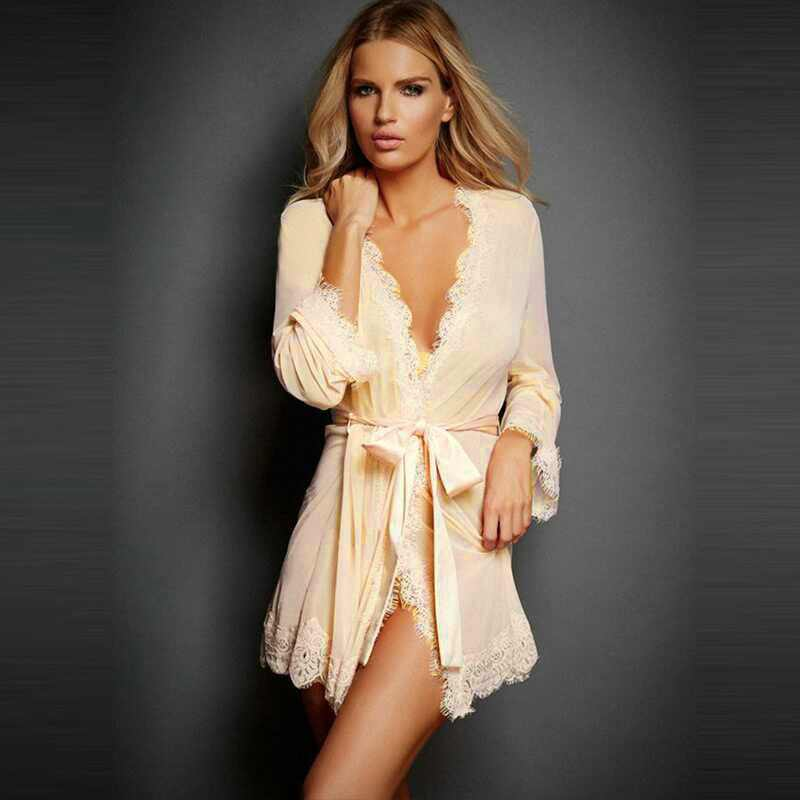 df2f876807 Robes with lace Bridal party robes Femme robes Sexy Bathrobes kimono  bridesmaid bath robe pink plus