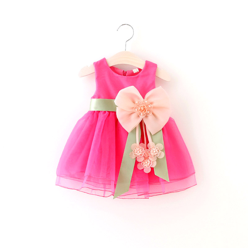 Summer Newborn Baby Girl Dresses Sleeveless Flower Bow Baby Princess Dress Baby Party Dress 1 year Infant Girls Birthday Dress
